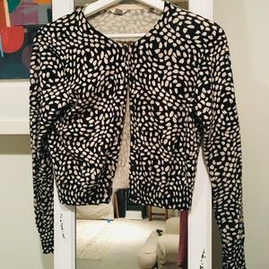 Fossil cropped black and white cardigan
